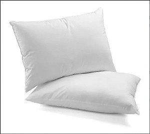 Kit 2 Travesseiros Fibra Silicone 100% Algodão 70cm x 50cm Branco