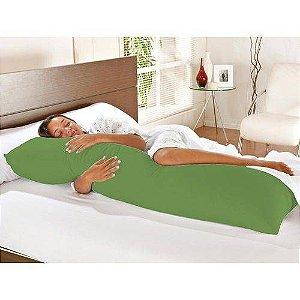 Travesseiro De Corpo Com Fronha Mega 100% Algodão Verde