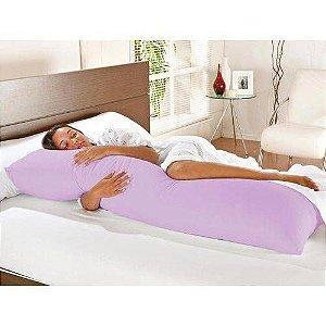 Travesseiro De Corpo Com Fronha Mega 100% Algodão Lilás