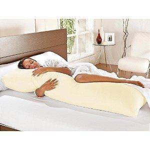 Travesseiro De Corpo Com Fronha Mega 100% Algodão Palha