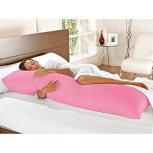 Travesseiro De Corpo Com Fronha Mega 100% Algodão Rosa