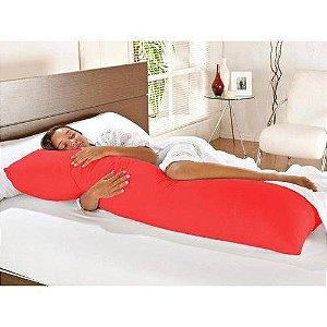 Travesseiro De Corpo Com Fronha Mega 100% Algodão Vermelho