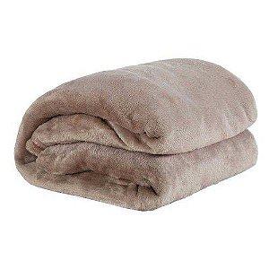 Cobertor Casal Manta Felpuda 01 Peça toque Aveludado Caqui
