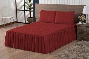 Colcha Casal Padrão Com Babado + 2 Porta Travesseiros Vermelho