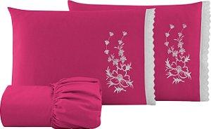 Jogo de Cama Casal 3 Peças Bordado 100% Algodão Pink