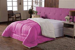 Coberdrom Edredom Cobertor Sherpa Casal Queen Dupla Face Pink