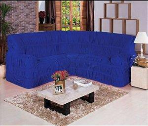 Kit Capa de Sofa Para Canto Elasticada Malha Gel Azul