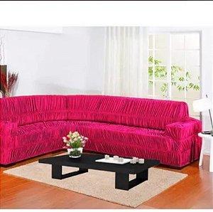 Kit Capa de Sofa Para Canto Elasticada Malha Gel Pink