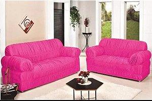 Kit Capa de Sofa 2 e 3 Lugares Padrão Elasticada Malha Gel Rosa
