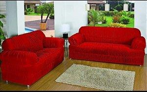 Kit Capa de Sofa 2 e 3 Lugares Padrão Elasticada Malha Gel Vermelho