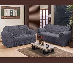Kit Capa de Sofa 2 e 3 Lugares Padrão Elasticada Malha Gel Cinza