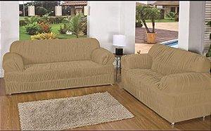 Kit Capa de Sofa 2 e 3 Lugares Padrão Elasticada Malha Gel Bege