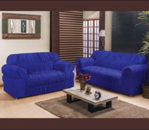 Kit Capa de Sofa 2 e 3 Lugares Padrão Elasticada Malha Gel Azul