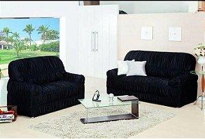 Kit Capa de Sofa 2 e 3 Lugares King Elasticada Malha Gel Azul Marinho