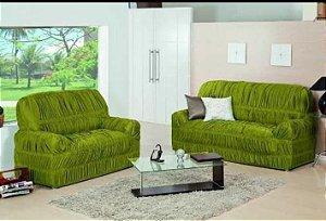 Kit Capa de Sofa 2 e 3 Lugares King Elasticada Malha Gel Verde