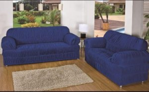 Kit Capa de Sofa 2 e 3 Lugares King Elasticada Malha Gel Azul Escuro