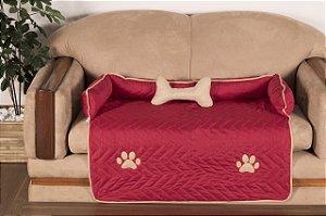 Protetor Pet Para Sofá Caminha De Cachorro + Ossinho Grande Vermelho