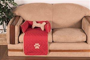 Protetor Pet Para Sofá Caminha De Cachorro + Ossinho Pequeno Vermelho