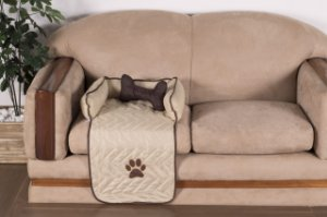 Protetor Pet Para Sofá Caminha De Cachorro + Ossinho Pequeno Cáqui
