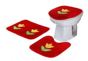 Jogo De Banheiro Tulipa Em Pelúcia 03 Peças Vermelho