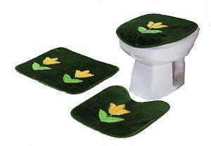 Jogo De Banheiro Tulipa Em Pelúcia 03 Peças Verde Musgo