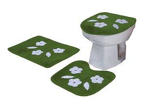 Jogo De Banheiro Três Margaridas Em Pelúcia 03 Peças Verde
