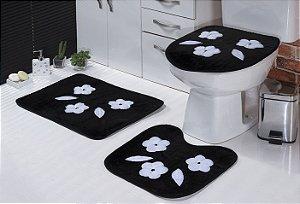 Jogo De Banheiro Três Margaridas Em Pelúcia 03 Peças Preto