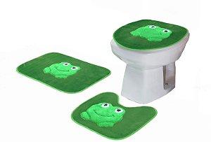 Jogo De Banheiro Sapinho Em Pelúcia 03 Peças Verde Escuro