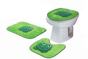 Jogo De Banheiro Sapinho Em Pelúcia 03 Peças Verde