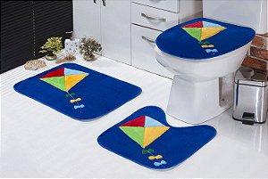 Jogo De Banheiro Pipa Em Pelúcia 03 Peças Azul Escuro