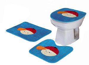 Jogo De Banheiro Menininho Em Pelúcia 03 Peças Azul Claro