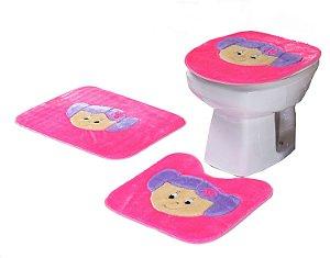 Jogo De Banheiro Menininha Em Pelúcia 03 Peças Pink