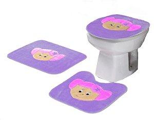 Jogo De Banheiro Menininha Em Pelúcia 03 Peças Lilás