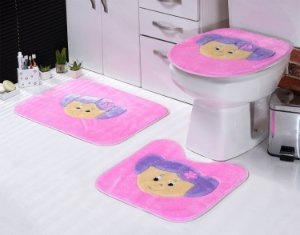 Jogo De Banheiro Menininha Em Pelúcia 03 Peças Rosa