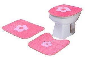 Jogo De Banheiro Margaridinha Em Pelúcia 03 Peças Pink