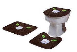 Jogo De Banheiro Flor Margarida Em Pelúcia 03 Peças Tabaco