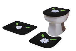 Jogo De Banheiro Flor Margarida Em Pelúcia 03 Peças Preto