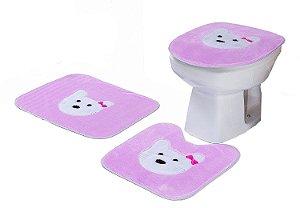 Jogo De Banheiro Gatinha Em Pelúcia 03 Peças Rosa