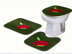Jogo De Banheiro Flor Em Pelúcia 03 Peças Verde