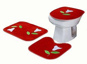Jogo De Banheiro Copo De Leite Em Pelúcia 03 Peças Vermelho