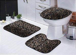 Jogo De Banheiro Safari Em Pelúcia 03 Peças Onça Estampado