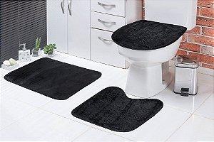 Jogo De Banheiro Liso Em Pelúcia 03 Peças Preto