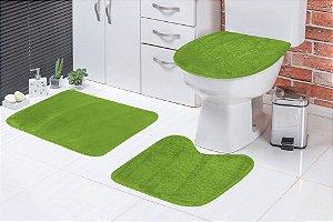 Jogo De Banheiro Liso Em Pelúcia 03 Peças Pistache