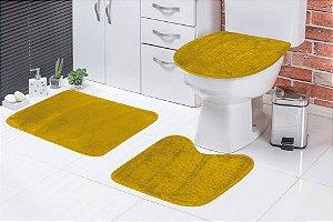 Jogo De Banheiro Liso Em Pelúcia 03 Peças Amarelo