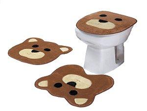 Jogo De Banheiro Ursinho Em Pelúcia 03 Peças Bege