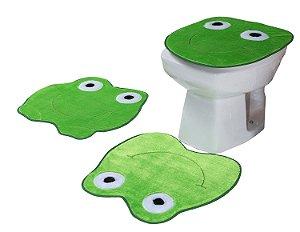 Jogo De Banheiro Sapo Em Pelúcia 03 Peças Verde Claro