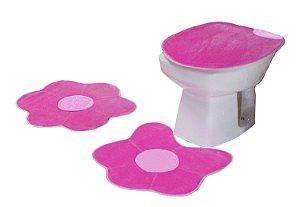 Jogo De Banheiro Flor Margarida Em Pelúcia 03 Peças Pink