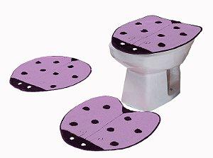 Jogo De Banheiro Joaninha Em Pelúcia 03 Peças Lilás