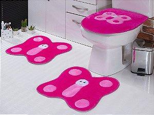 Jogo De Banheiro Borboletas Em Pelúcia 03 Peças Pink