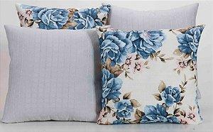 Kit com 4 Capas Para Almofadas Decorativas Estampa Branca com Flores Azuis